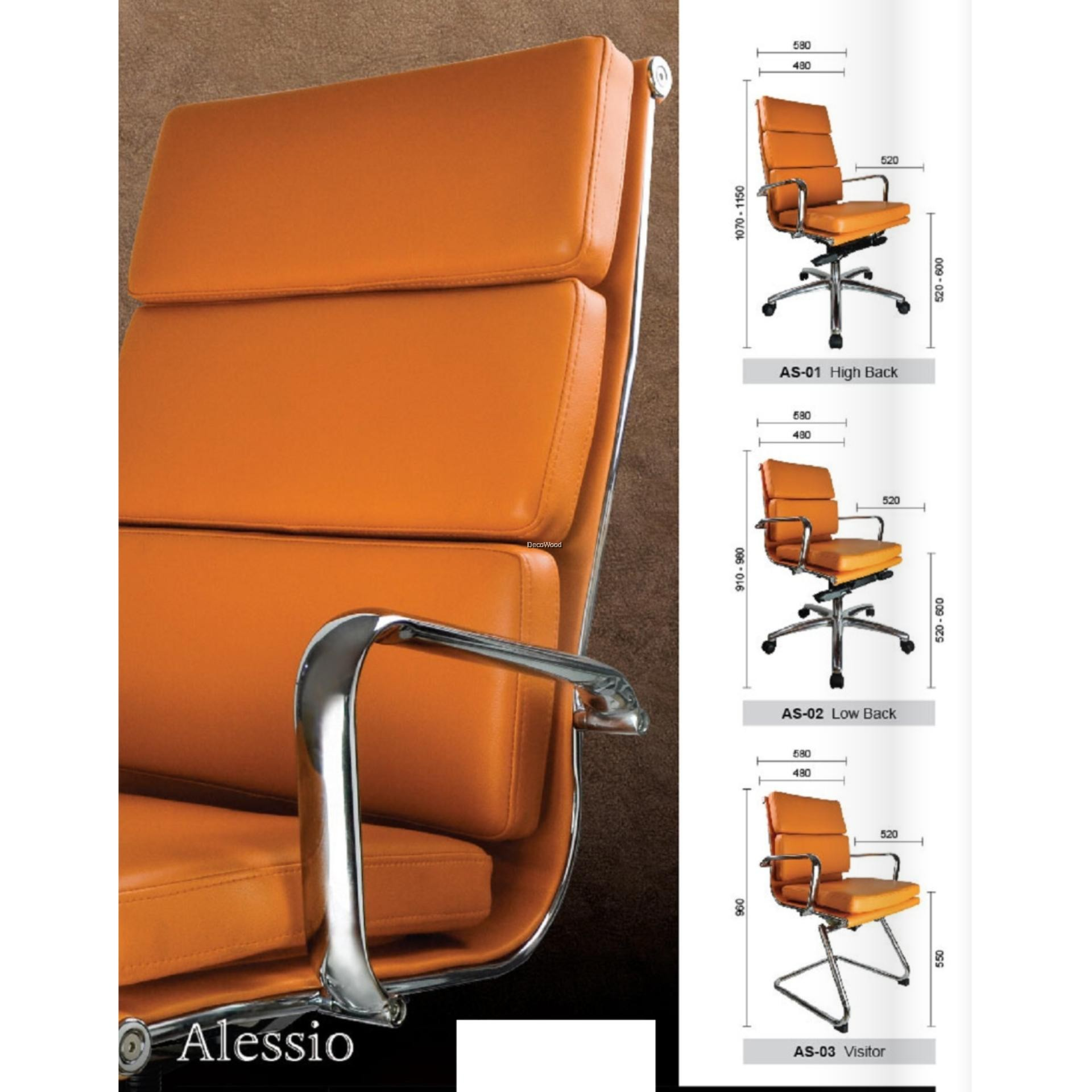Picture of: Deco Alessio Office Chairs Leather Executive High Back Recliner Computer Desk Swivel Chair Orange Color Pre