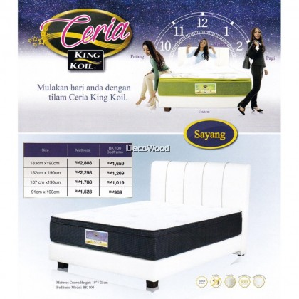 King Koil Ceria Sayang 10 inch Chiropractic Coil Spring Mattress With 10 Years Warranty (Pre-Order 2 Weeks)