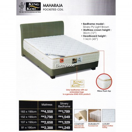 King Koil Maharaja 12 inch Pocketed Coil Spring Mattress With 10 Years Warranty (Pre-Order 2 Weeks)