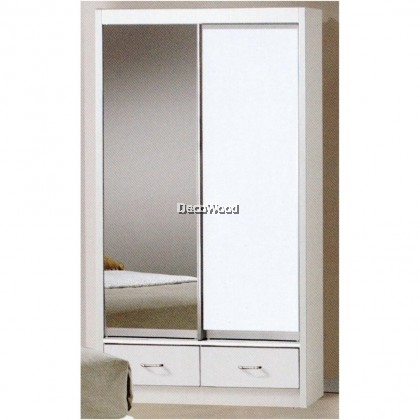 Ready-Fixed 3 Feet Glass Sliding Door Wardrobe Clothing Cabinet With Mirror (White Color)