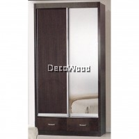 Ready-Fixed 3 Feet Glass Sliding Door Wardrobe Clothing Cabinet With Mirror (Dark Brown Color)