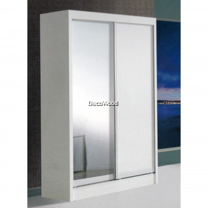 Ready-Fixed 4 Feet Glass Sliding Door Wardrobe Clothing Cabinet With Mirror (White Color)