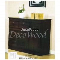 EB6633 Ready-Fixed Solid 4 Drawer Chest 1 Door With Lock (Oak) L1170MM X W430MM X H990MM