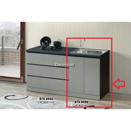 Ready-Fixed 2-Feet Kitchen Cabinet With Sink Kitchen Rack Kitchen Storage Kitchen Sink Dish Washer L600MM X W600MM X H830MM