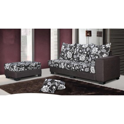 Grace Anne Fully Fabric L-SHAPE Sofa Lounge Chair Relax Sofa Floral Design Flowers L1700MM X W860MM X H900MM