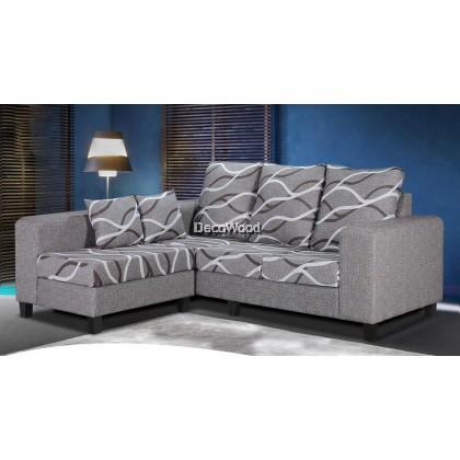 Audrey Caroline Fully Fabric L-Shape Sofa Lounge Chair Relax Sofa Floral Design Flowers L1900MM X W780MM X H950MM