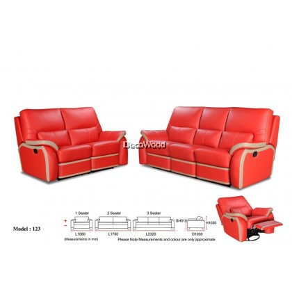 Grace Margaret  Recliner Sofa 2+3 Seater Cowhide Leather Sofa