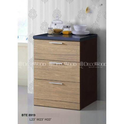 3 DOOR PULL CUPBOARD KITCHEN CABINET / COOKING CABINET / COOKING RACK WITH MOSAIC TOP L500MM X W500MM X H800MM