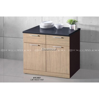 READY-FIXED 2 & HALF FEET KITCHEN CABINET / COOKING CABINET  / COOKING RACK WITH MOSAIC TOP L900MM X W580MM X H800MM