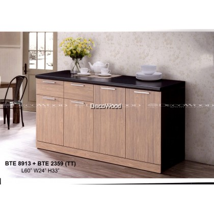 KITCHEN CABINET WITH MOSAIC TOP BLACK COLOUR / KITCHEN STORAGE CABINET / MICROWAVE OVEN CABINET L1500MM X W600MM X H800MM