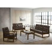 Joshua Solid Wood 1+2+3 Fabric Sofa Set With Coffee Table /Wood Sofa/Hall Sofa/Lounge Sofa/Relax Sofa/Hall Chair/T V Chair/TV Sofa