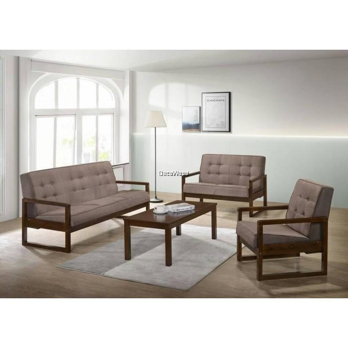 Jonathan Solid Wood 1+2+3 Fabric Sofa Set With Coffee Table /Wood Sofa/Hall  Sofa/Lounge Sofa/Relax Sofa/Hall Chair/T V Chair/TV Sofa