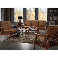 Brown Gold Solid Wood Sofa Set 2+3 Seater Fabric Cushion Sofa / Lounge Chair / Hall Sofa / Hall Chair / Relax Sofa / Relax Chair / Leather Sofa / Sofa Santai