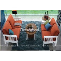 Apricot Solid Wood Sofa Set 3 Seater Fabric Cushion Sofa / Lounge Chair / Hall Sofa / Hall Chair / Relax Sofa / Relax Chair / Leather Sofa / Sofa Santai