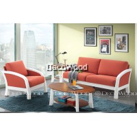 Orange Round Solid Wood Sofa 2 Seater Fabric Cushion Sofa / Lounge Chair / Hall Sofa / Hall Chair / Relax Sofa / Relax Chair / Leather Sofa / Sofa Santai