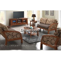 Brunette Round Solid Wood Cushion Sofa Set 1+2+3 Seater Fabric Cushion Sofa / Lounge Chair / Hall Sofa / Hall Chair / Relax Sofa / Relax Chair / Leather Sofa / Sofa Santai