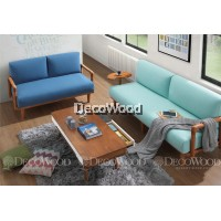 Carolina Blue & Brown Round Solid Wood Sofa Set 3 Seater Fabric Cushion Sofa / Lounge Chair / Hall Sofa / Hall Chair / Relax Sofa / Relax Chair / Leather Sofa / Sofa Santai