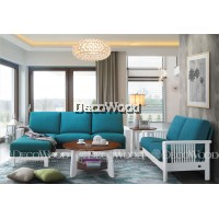Oceanic Blue Solid Wood L-Shape Fabric Cushion Sofa / Lounge Chair / Hall Sofa / Hall Chair / Relax Sofa / Relax Chair / Leather Sofa / Sofa Santai