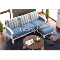 Blue Stripes Solid Wood L-Shape Fabric Cushion Sofa / Lounge Chair / Hall Sofa / Hall Chair / Relax Sofa / Relax Chair / Leather Sofa / Sofa Santai