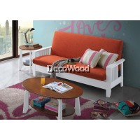 Orange Solid Wood Sofa Set 3 Seater Fabric Cushion Sofa / Lounge Chair / Hall Sofa / Hall Chair / Relax Sofa / Relax Chair / Leather Sofa / Sofa Santai