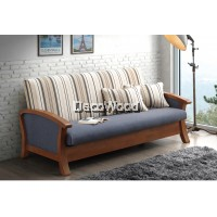 Creamy Stripes Solid Wood 3 Seater Fabric Cushion Sofa Bed / Lounge Chair / Hall Sofa / Hall Chair / Relax Sofa / Relax Chair / Leather Sofa / Sofa Santai