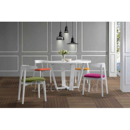 Solid Wood 1 Dining Table + 4 Colourful Cushion Chair Dining Set (White Color) L1200MM X W1200MM X H750MM Pre Order 2 Week
