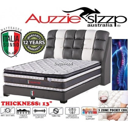 *New Arrival* Aussie Sleep Italia Sunno Valentine 5 Zone Pocketed Spring + Pillow Top 13 Inch Mattress - Queen Size With 12 Years Warranty