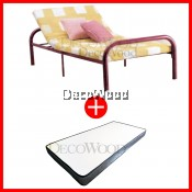 Adjustable Single BedFrame Metal Bed/3 Feet Single Bed/Single Metal Bed/Single Bed/Single Bedframe/Adult Bedframe WITH Grade AAA 5 INCHES Rebond Foam Posture Mattress Single Mattress Tilam Single Size - 10 YEARS WARRANTY
