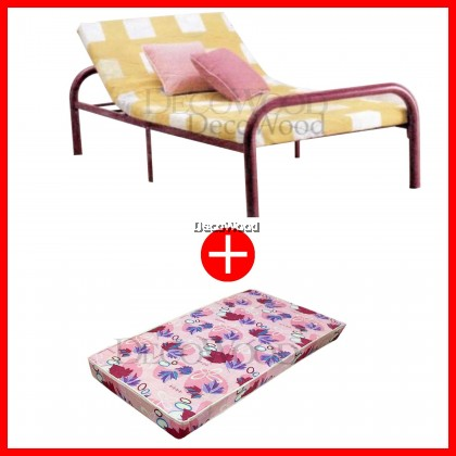Adjustable Single BedFrame Metal Bed/3 Feet Single Bed/Single Metal Bed/Single Bed/Single Bedframe/Adult Bedframe WITH Grade AAA 4.5 INCHES Rebond Foam Posture Mattress Single Mattress Tilam Single Size - 10 YEARS WARRANTY
