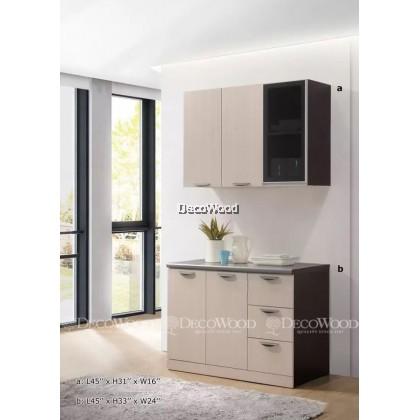 """Kitchen Cabinet / Kitchen Rack / Kitchen Storage With Mosaic Top H31"""" X L45"""" X W16"""" & L45"""" X H33"""" X W24"""""""