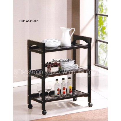 Fully Solid Wood Kitchen Trolley With Rollers/Food Trolley/Cup Rack/Plate & Metal Rack/Kitchen & Sink Rack/Cooking & Clothes Rack/Rak Baju/Rak Dapur/Rak Masak