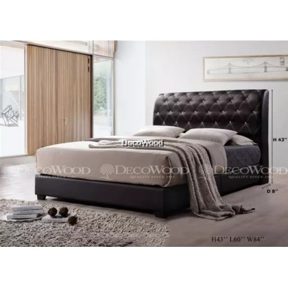 """Solid Wood Strong King & Queen Size Wooden Bed Frame With Headboard Storage  H41"""" X D8"""""""
