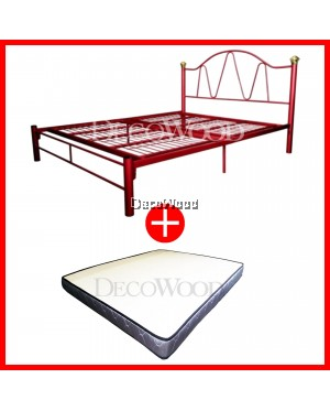 3V Powder Coat Metal Bed Frame BY9021 - Queen Size WITH Queen Grade AAA 5 INCHES Rebond Foam Posture Mattress