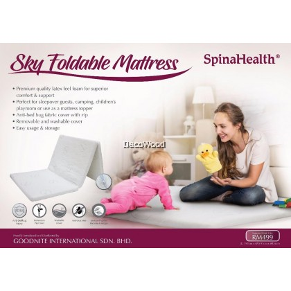 *New 2019 Model* Goodnite SpinaHealth Single Foldable Premium Quality Reborn Foam Mattress With Carry Bag