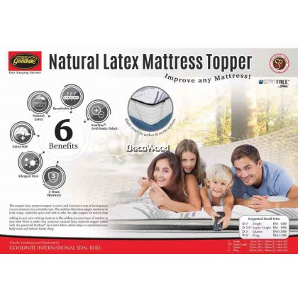*Improved 2019 Model* Goodnite Mosfree® Natural Latex Mattress Topper (King/Queen/Super Single/Single) - 3 Years Warranty