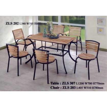 Solid Wood Outdoor Dining Set Garden Set Relax 1 Table + 6 Chair Lounge Set