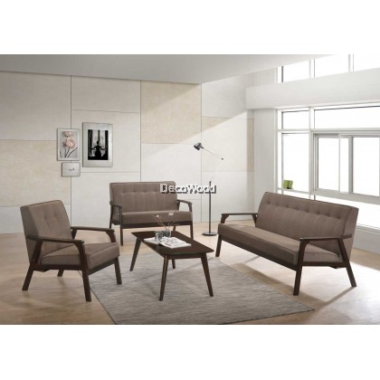1+2+3 Seater Fabric Sofa Set With Free Coffee Table Hall Sofa Lounge Chair Relax Sofa - Brown Color
