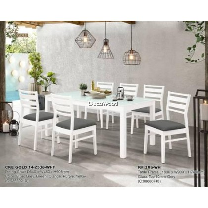 Okura 1+6 Dining Set / Dining Table / Dining Chair / Meja Makan / Kerusi Meja Makan / Buffet Makan Meja / Meja Party Makan Weekend L1800MM X W900MM X H740MM