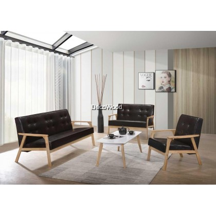 1+2+3 Seater Leather Sofa Set With Free Coffee Table Hall Sofa Lounge Chair Relax Sofa - Dark Brown Leather Color