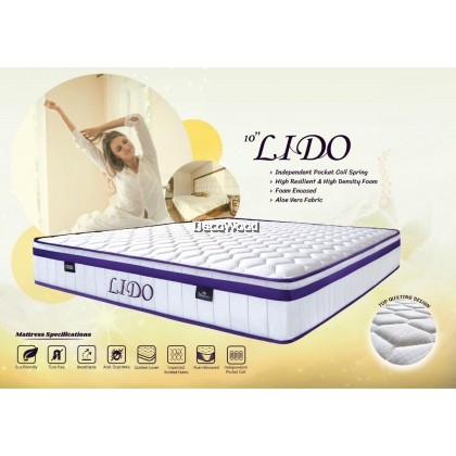 *New Arrival* LIDO Italia Sunmo Valentino 10 Inch 7 Zone Pocketed Coil Spring Queen / King Size Mattress  / Tilam Queen & King / Tilam Syiok Tidur ( 10 Years Warranty )