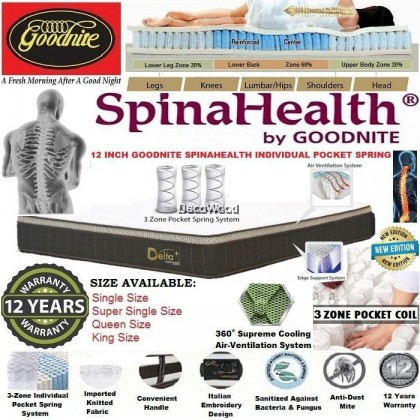 (New Edition) Goodnite SpinaHealth 10 Inch 3 Zone Pocket Spring Single/Super Single/Queen/King Size Mattress (12 Years Warranty)