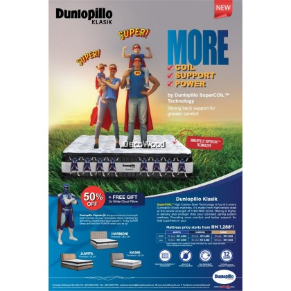 *New Arrival* Dunlopillo 10 Inches Kasih Klasik Series SuperCOIL Technology Mattress Tilam With Official Dunlopillo 12 Years Warranty