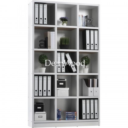 15-Box Compartment Book Shelf / File Cabinet / Storage Cabinet / Filing Cabinet  / Office Cabinet / Office Rack / Office System Cabinet L1200MM X W300MM X H2100MM (White Colour)