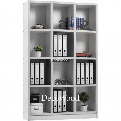 12-Box Compartment Book Shelf / File Cabinet / Storage Cabinet / Filing Cabinet  / Office Cabinet / Office Rack / Office System Cabinet L1200MM X W300MM X H1825MM (White Colour)