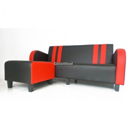 L-Shape 3 Seater Sofa Lounge Chair Relax Sofa (Black & Red Colour)