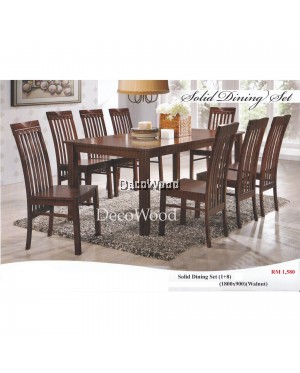 Fully Solid Wood 1 Dining Table + 8 Dining Cushion Chair Dining Set Meal Table Set Meja Makan Dining Table Chairs (Brown Colour)