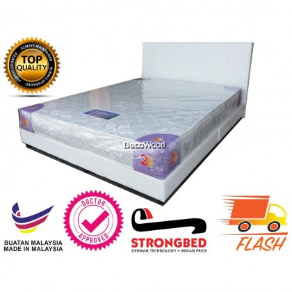 White Divan Bed Katil Leather - Queen Size