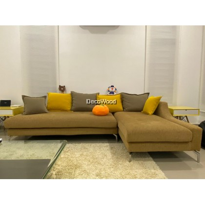 *URGENT PROMO SET* Oren Yellow L-Shape Sofa Sofa Fully Leather Sofa / Lounge Chair / Relax Sofa / Relax Chair / Leather Sofa / Sofa Santai