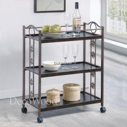 3-Layer Kitchen Trolley With Rollers/Food Trolley/Bowl Rack/Cup Rack/Cutlery Rack/Plate Rack/Metal Rack/Kitchen Rack/Sink Rack/Cooking Rack/Plate Rack/Clothes Rack/Rak Baju/Rak Dapur/Rak Masak L560MM X W365MM