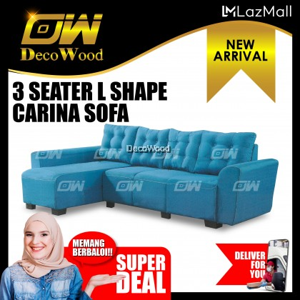Venus 4 Seater L-SHAPE Sofa Fully Fabric Sofa / Lounge Chair / Relax Sofa / Relax Chair / Fabric Sofa / Sofa Santai RC